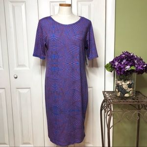 NWT Lularoe Julia, blue/orange print